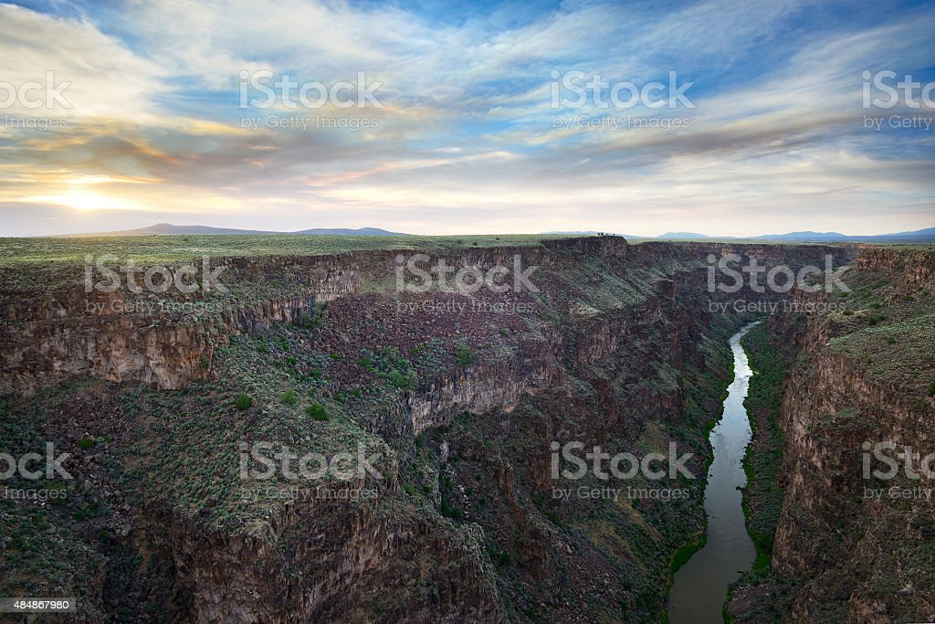 Sunset over the Rio Grande stock photo