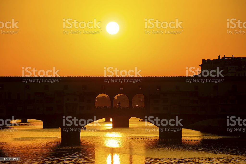 Sunset over the river Arno stock photo