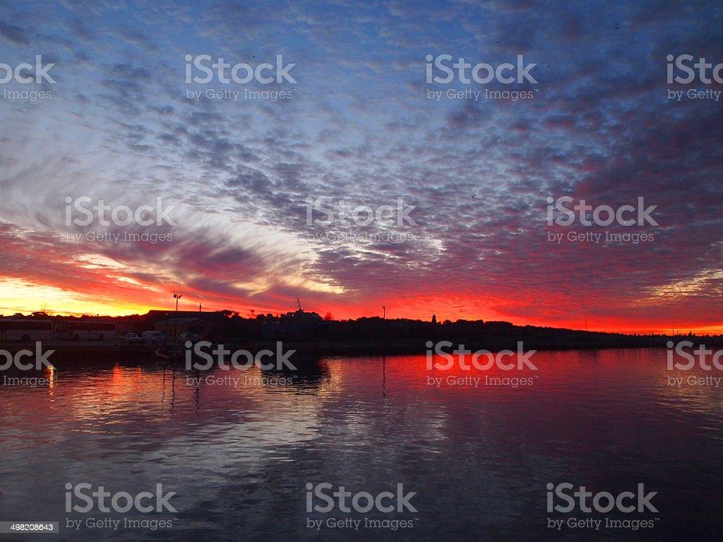 Sunset over the Robben Island stock photo
