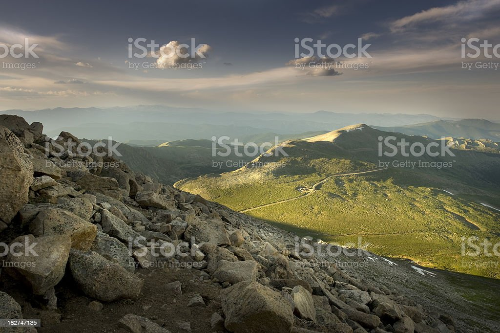 Sunset over the Rockies royalty-free stock photo