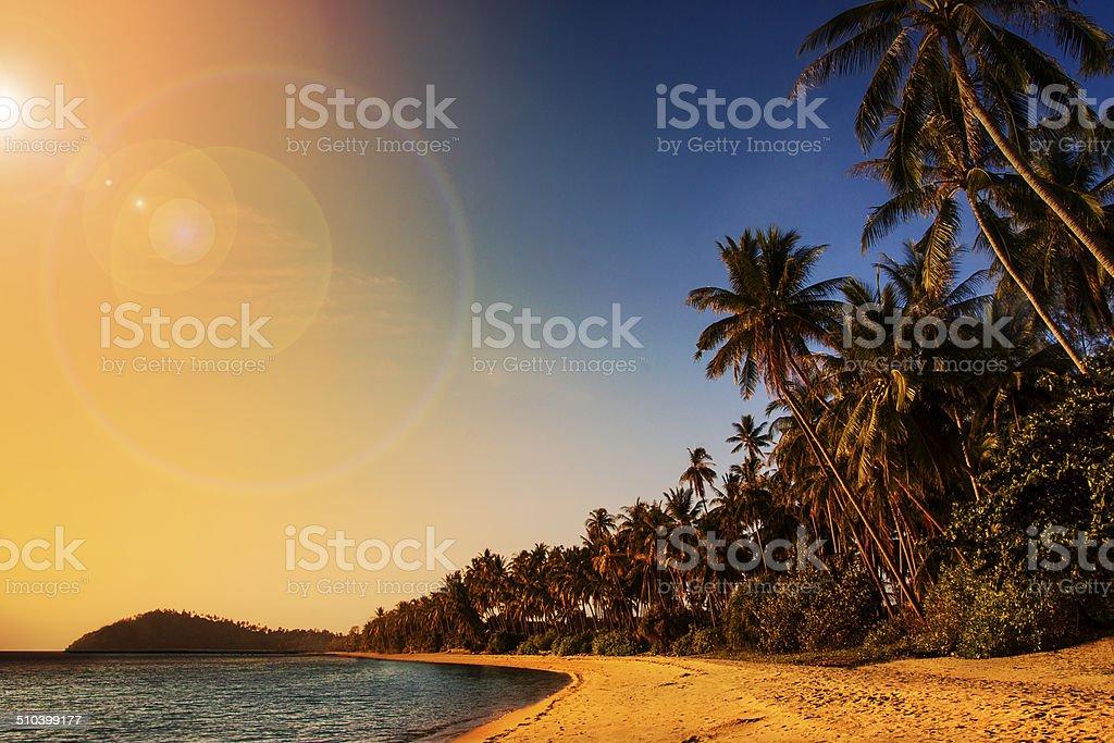 Sunset over the Samui Lipa Noi Beach stock photo