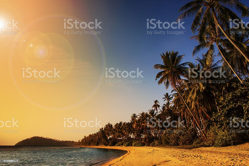 Sunset over the Samui Lipa Noi Beach stock photo