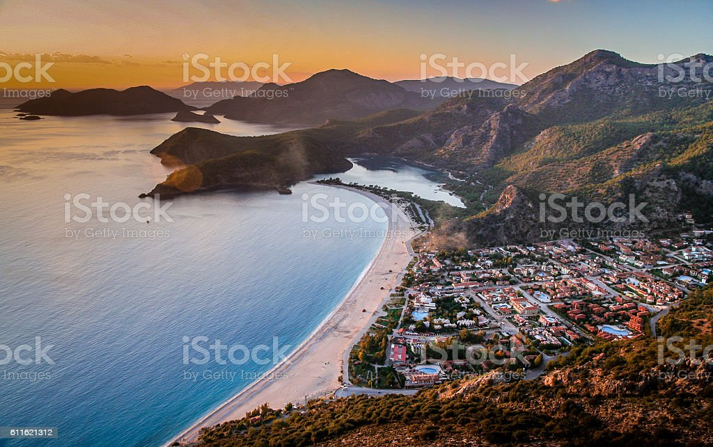 Sunset over the sea in Oludeniz stock photo