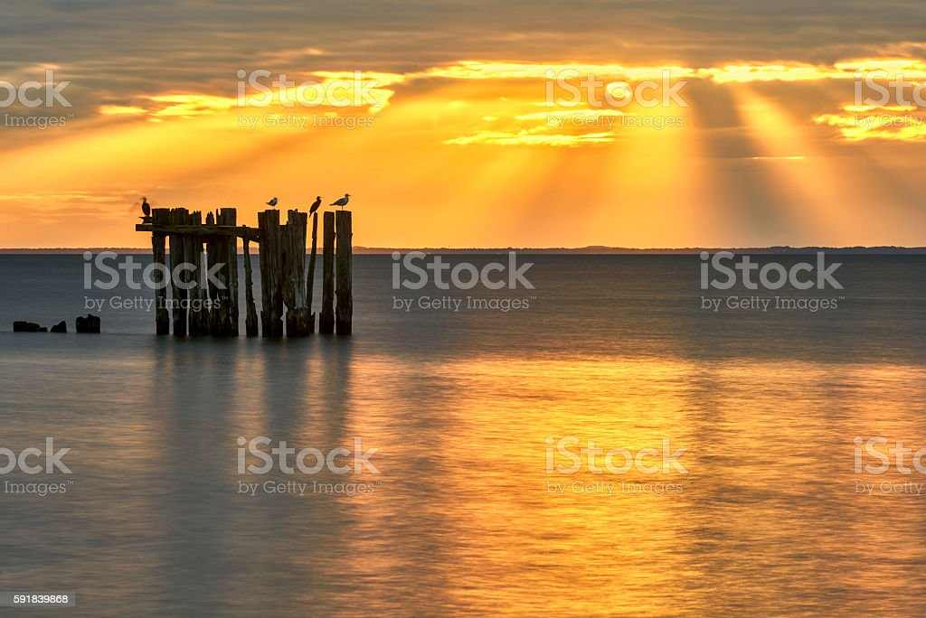 Sunset over the sea in sammer stock photo