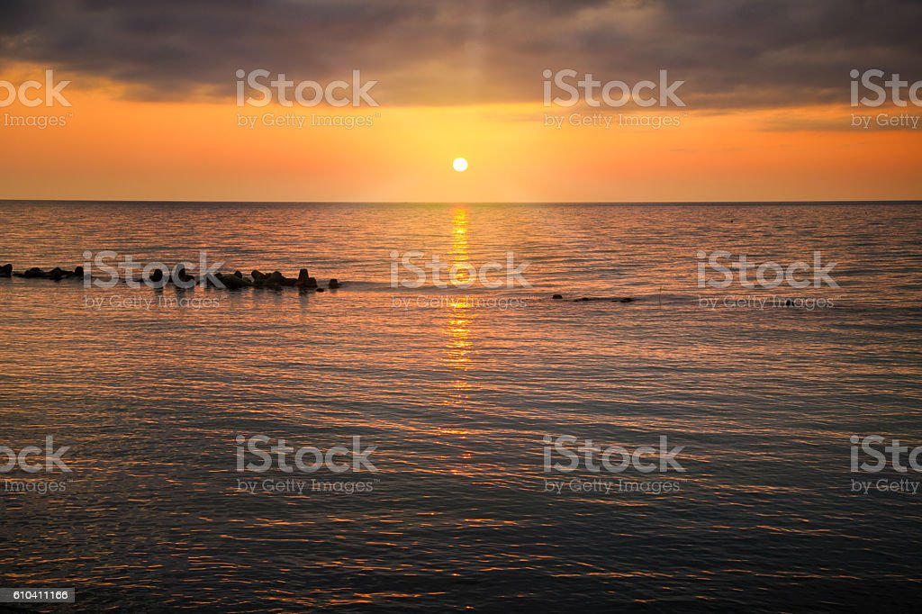 Sunset over the Sea of Japan stock photo