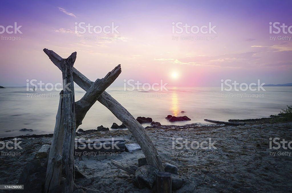 Sunset over the sea stock photo