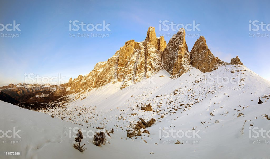 Sunset over the Sella mountain range, Dolomites, Italy stock photo