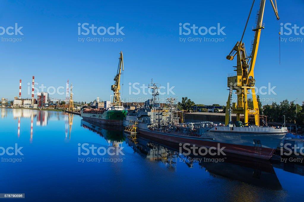 Sunset over the shipyard, Szczecin, Poland stock photo
