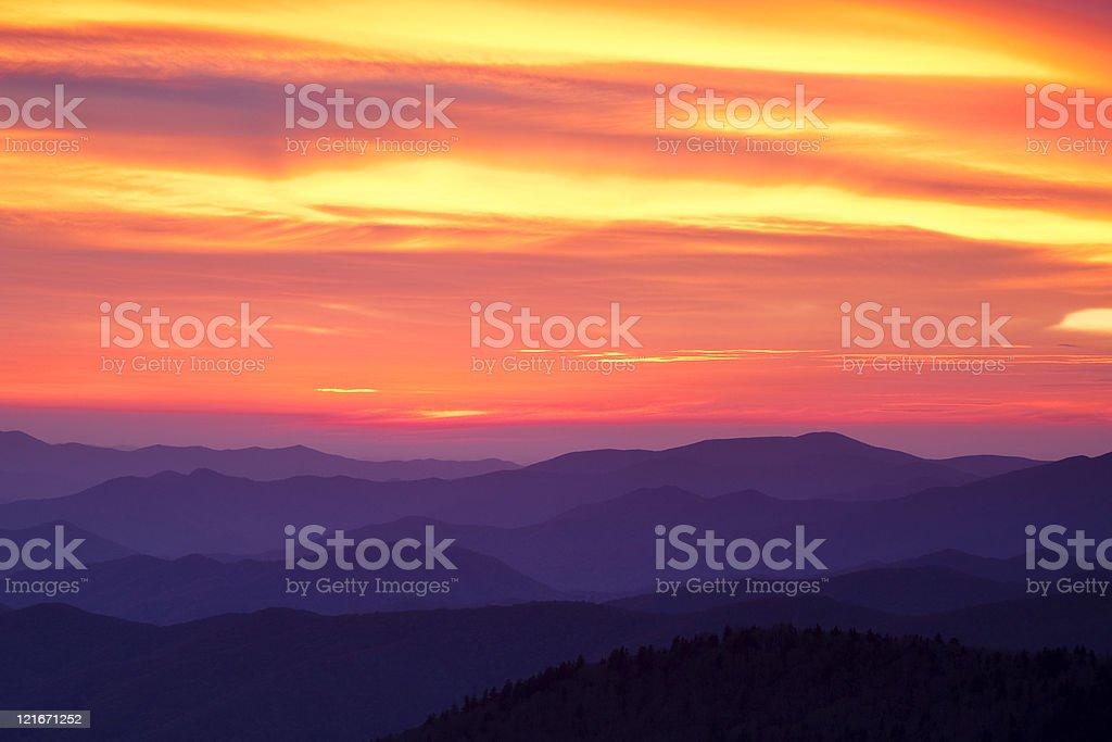 Sunset Over the Smokies stock photo