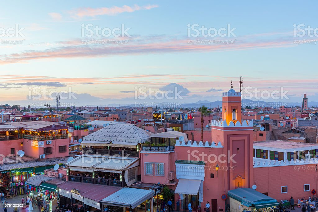 Sunset over the Souks of Marrakech, Morocco stock photo