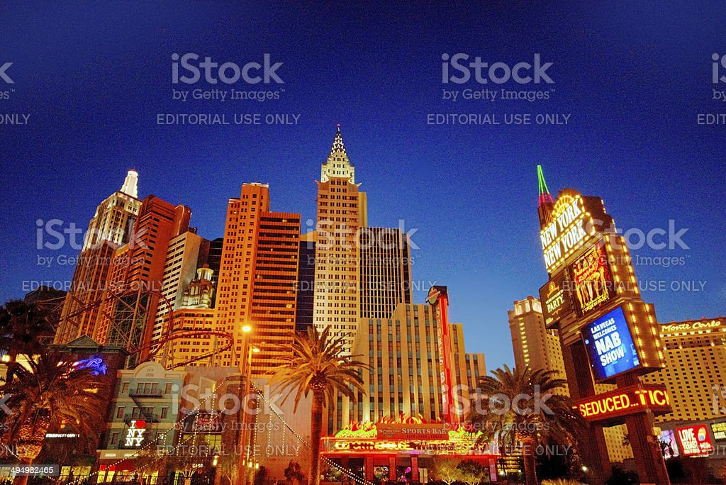 Sunset over the strip stock photo