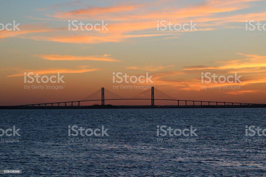 Sunset over the Sydney Lanier Bridge stock photo