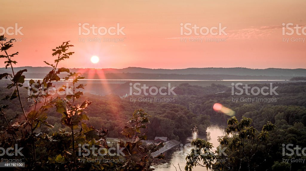 Sunset over the Table Rock Dam stock photo