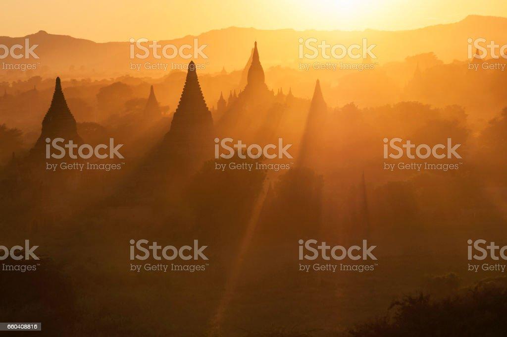 Sunset over the Temples of Bagan, Mandalay, Myanmar. stock photo
