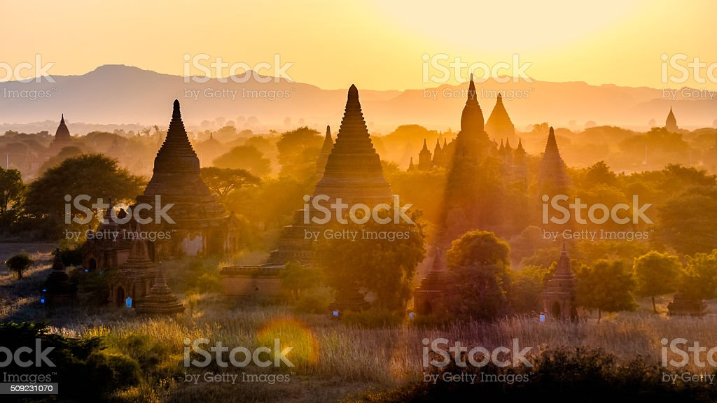Sunset over the Temples of Bagan, Myanmar stock photo