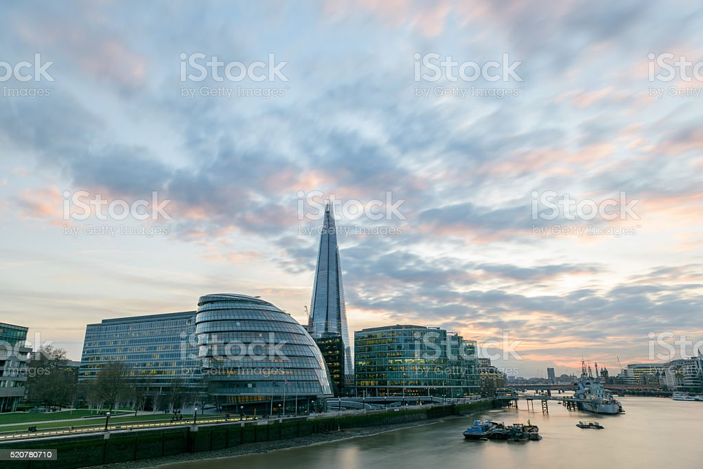 Sunset over the Thames in London stock photo