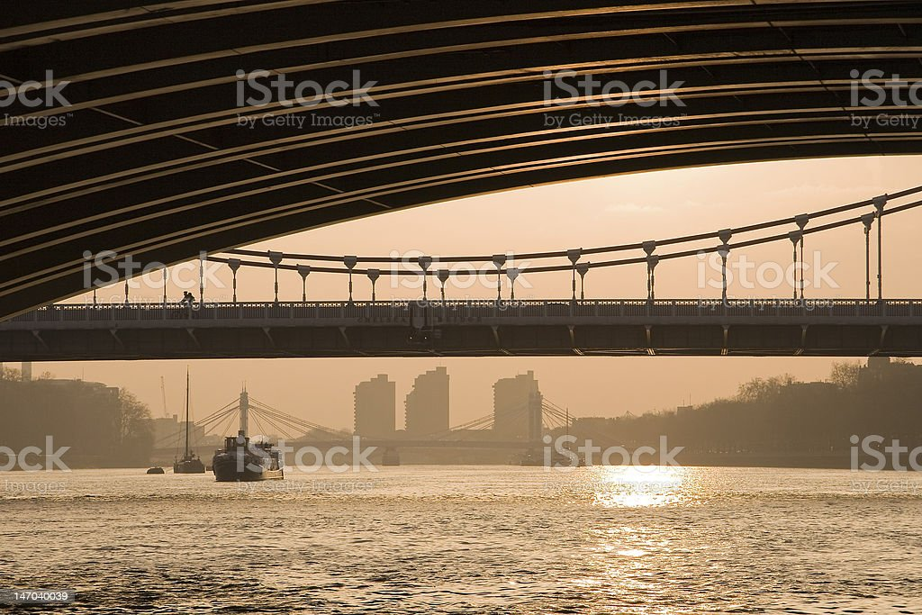 Sunset over the Thames, London stock photo