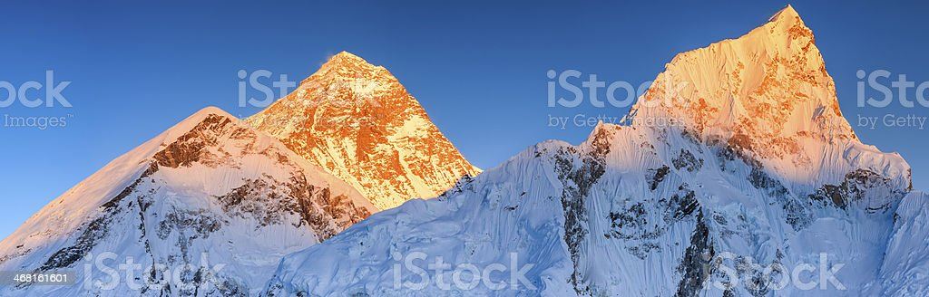 Sunset over the top of world 39MPix- Mount Everest mountain royalty-free stock photo