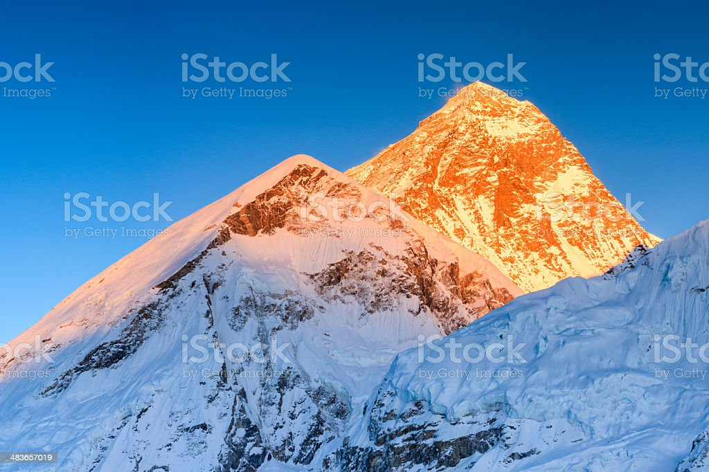 Sunset over the top of world - Mount Everest mountain royalty-free stock photo