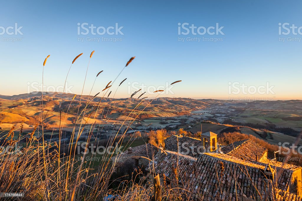 Sunset over the Tuscan hills royalty-free stock photo