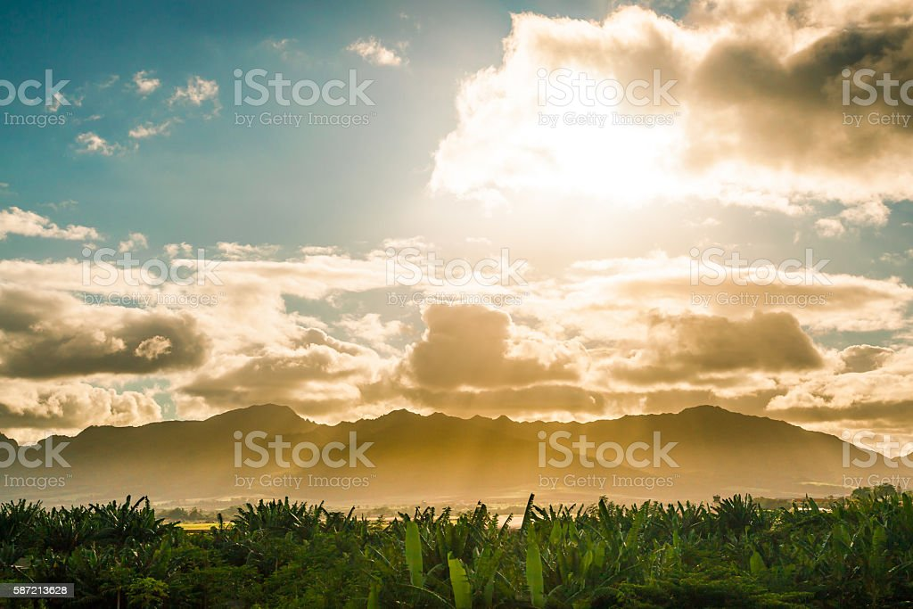 Sunset over the valley in Oahu royalty-free stock photo