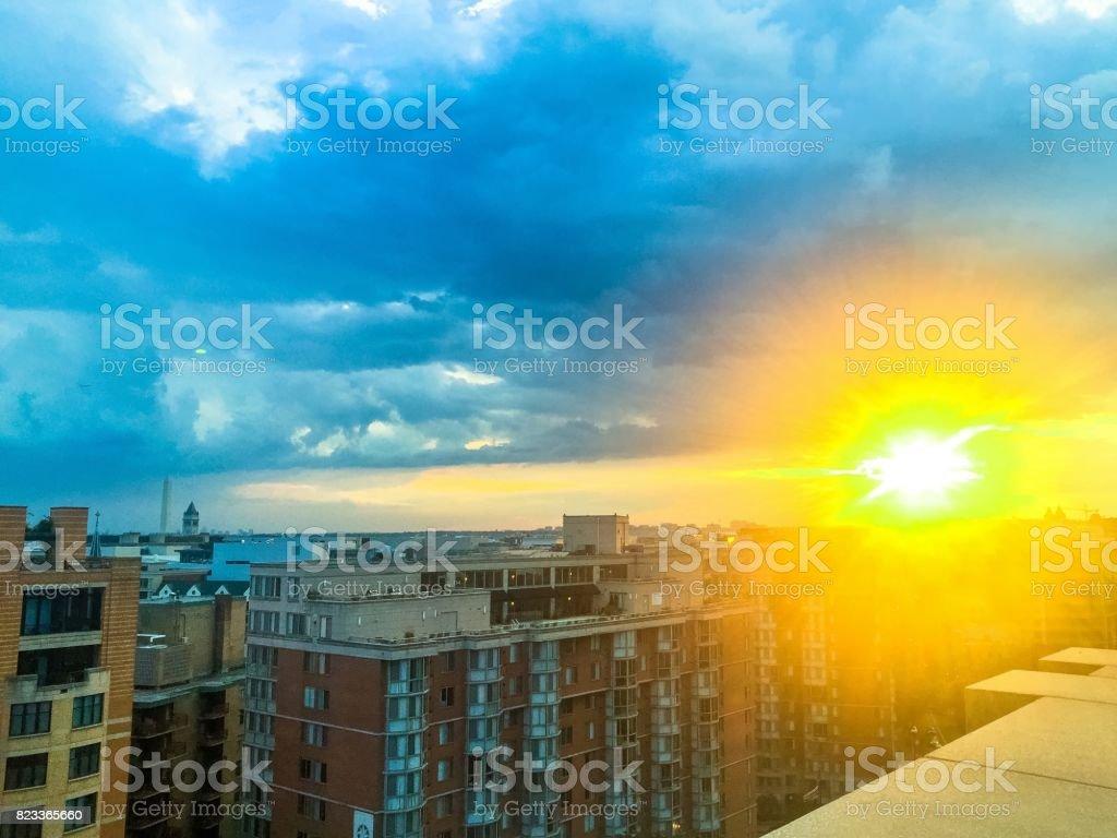 Sunset over the Washington Monument stock photo