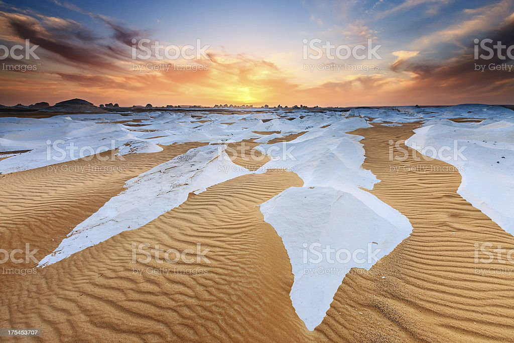 Sunset over The Western Sahara Desert in Africa royalty-free stock photo