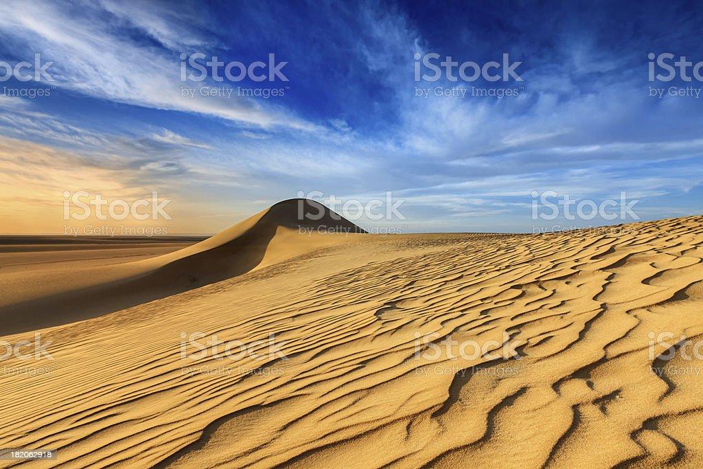 Sunset over The Western Sahara Desert in Africa stock photo