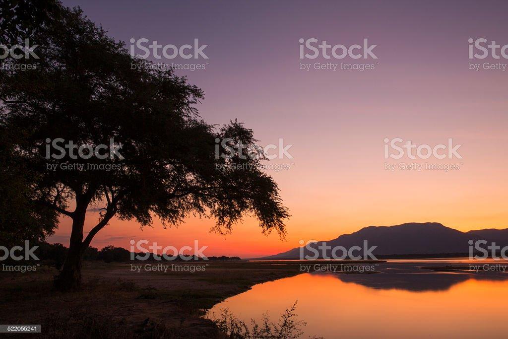 Sunset over the Zambezi river stock photo