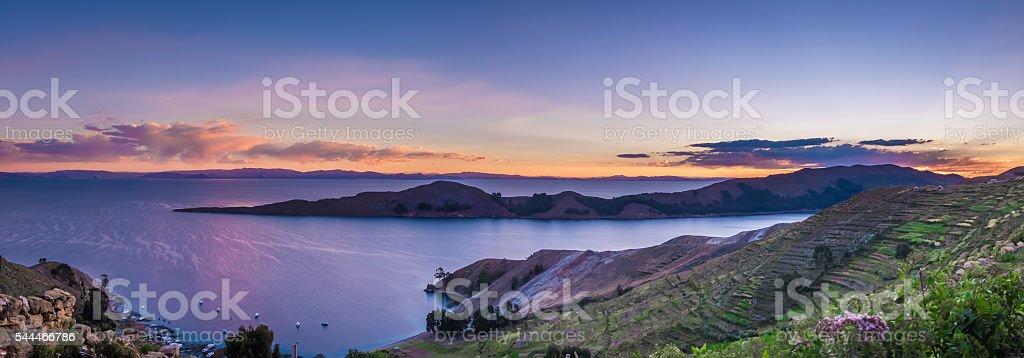Sunset over Titicaca Lake, Isla del Sol - Bolivia stock photo
