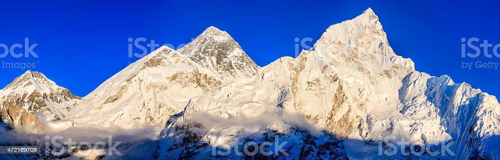 Sunset over top of world 103MPix XXXL- Mount Everest mountain royalty-free stock photo