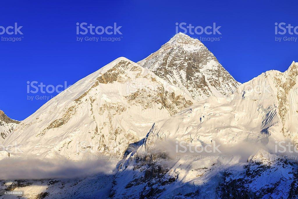 Sunset over top of world 49MPix XXXXL- Mount Everest mountain stock photo