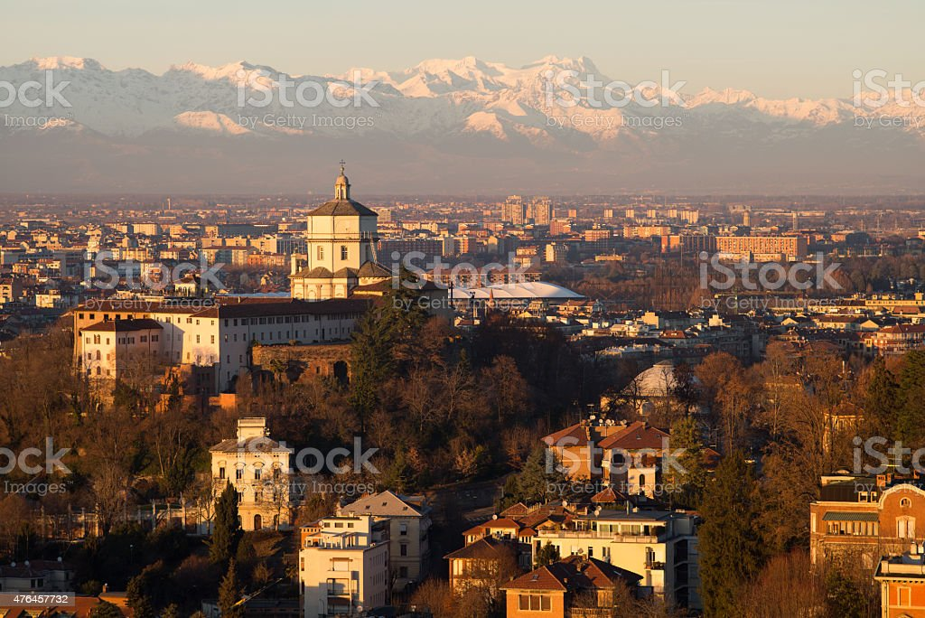 sunset over torino stock photo