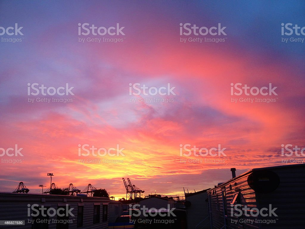 Sunset over Trailer Park stock photo