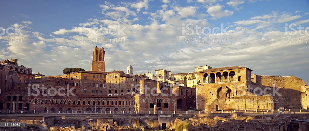 Sunset over Mercati di Traiano in Rome, Italy royalty-free stock photo