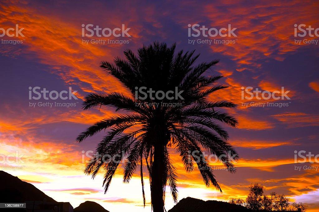 Sunset over Turre Village stock photo