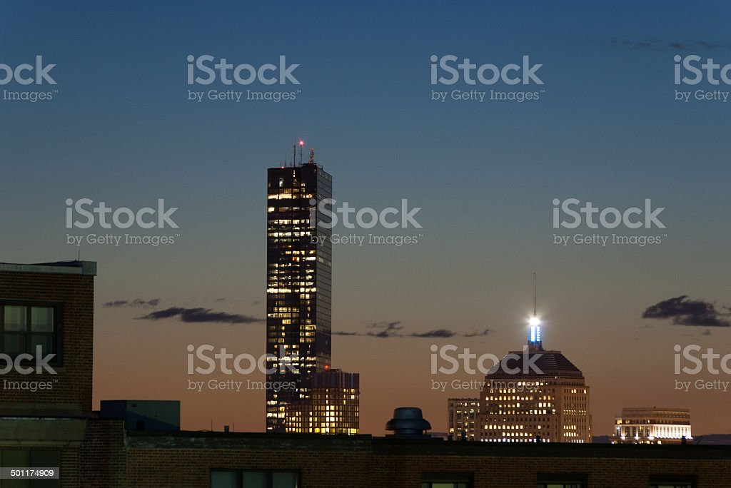 Sunset over two Hancock Towers stock photo