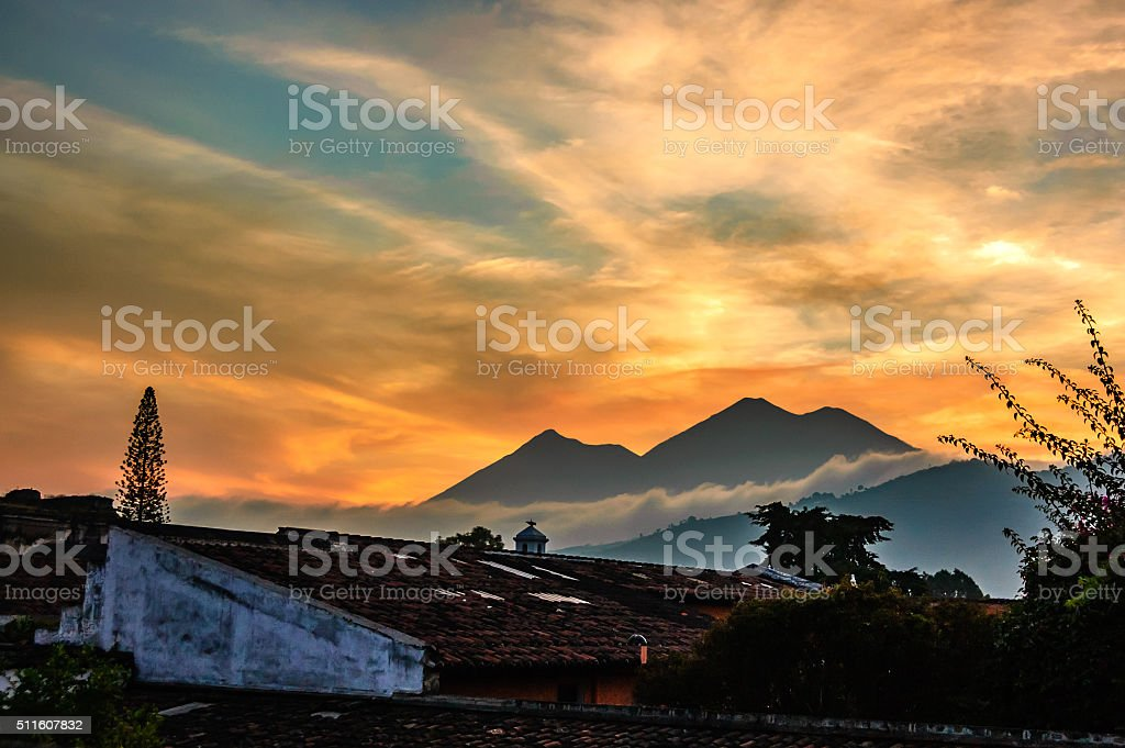 Sunset over two volcanoes, Guatemala stock photo