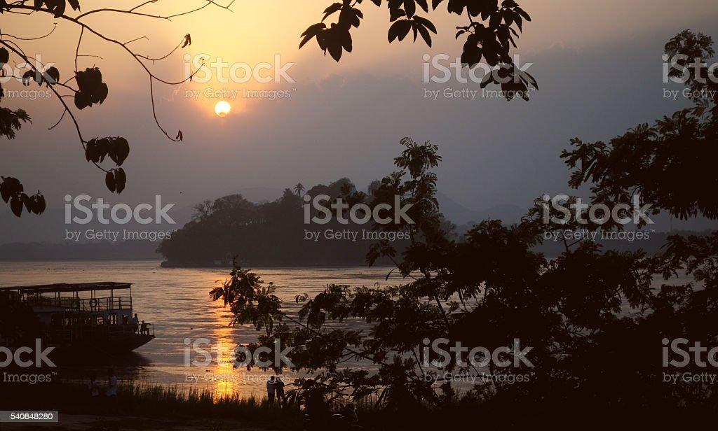 Sunset over Umananda island stock photo