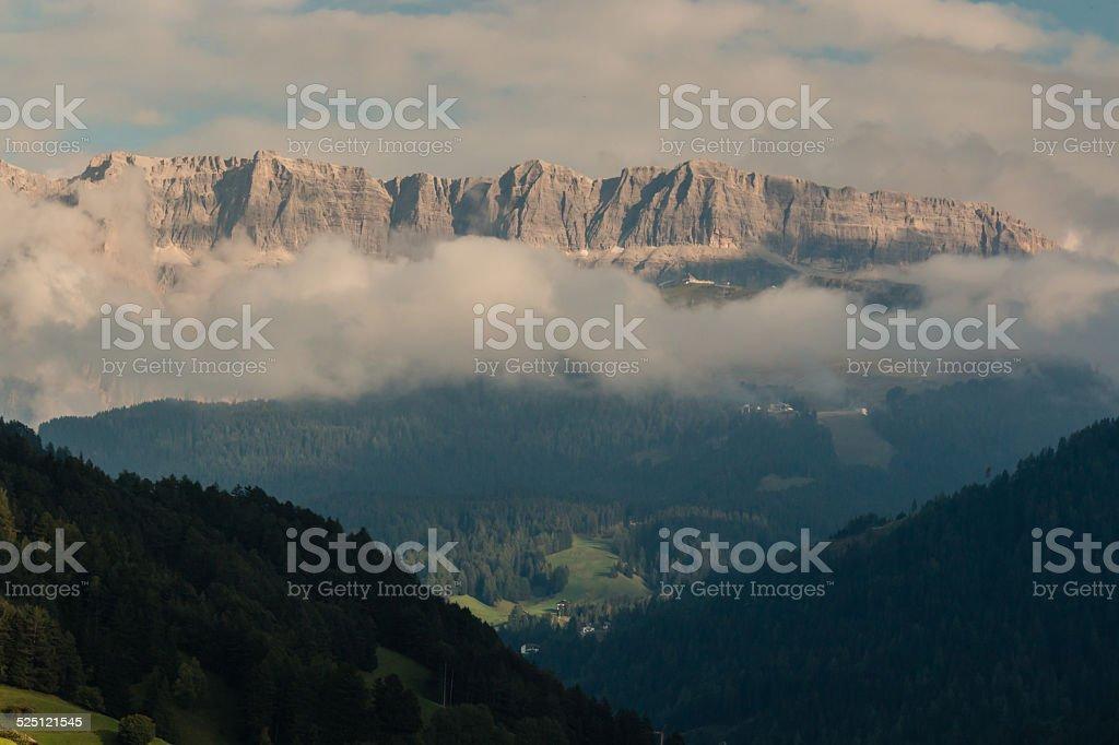 sunset over Val Gardena in Dolomites stock photo
