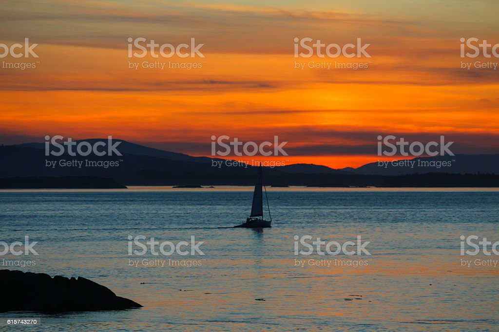 Sunset over Vancouver Island stock photo