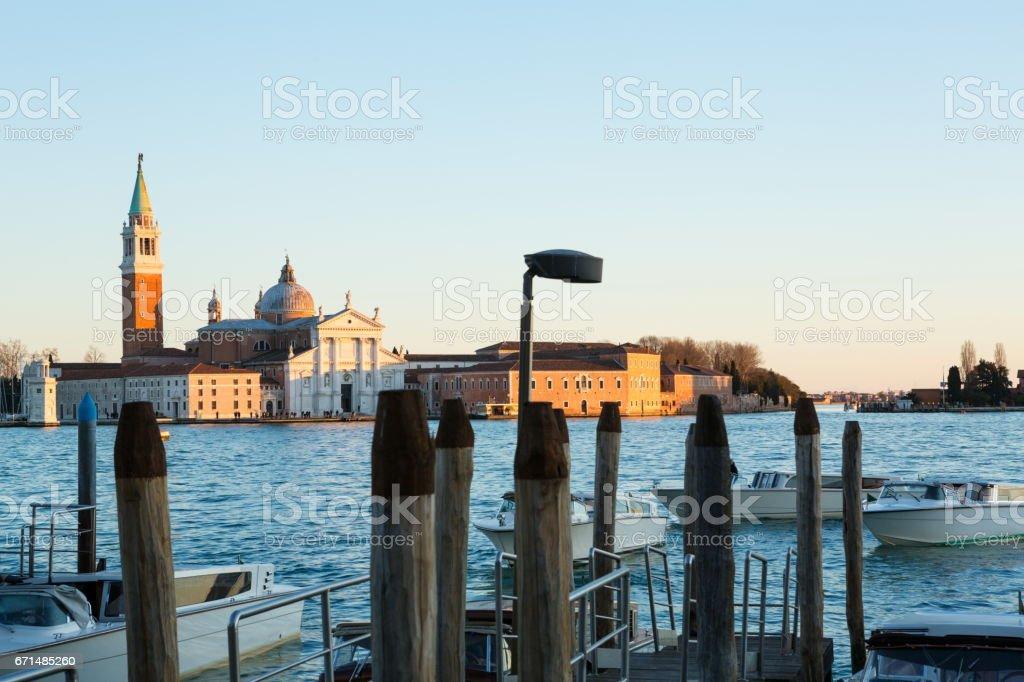 Sunset over Venice Lagoon Looking at Saint Giorgio Maggiore in Venice stock photo