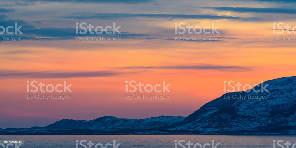 Sunset over Vestfjord panorama from Vesteralen island archipel, Norway stock photo