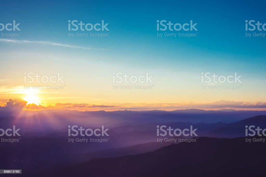 Sunset over viwepoint on mountain stock photo