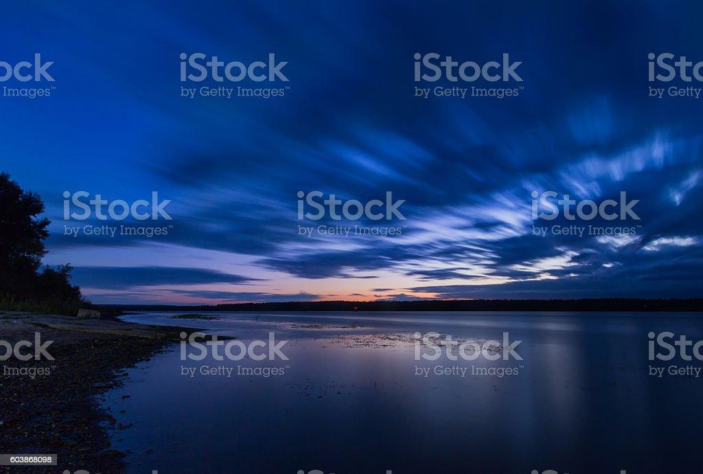 Sunset over Volga River, Nizhniy Novgorod. stock photo