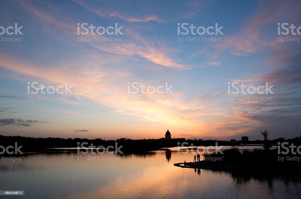 Sunset over Wascana Lake in Regina Saskatchewan stock photo