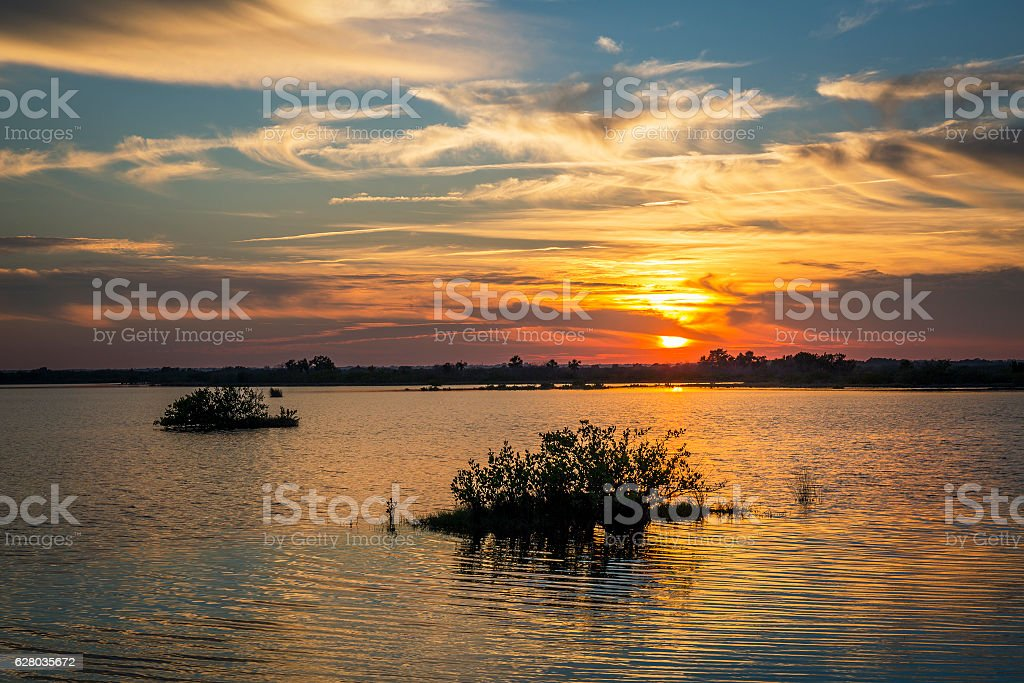 Sunset over water - Merritt Island Wildlife Refuge, Florida stock photo
