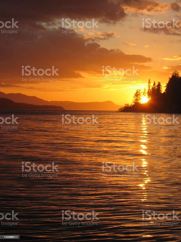 Sunset Over West Coast of British Columbia stock photo