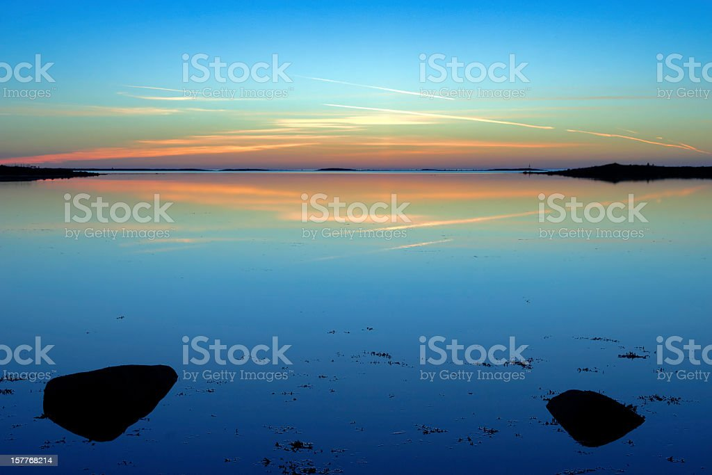Sunset over White Sea on Bolshoy Solovetsky Island, Russia stock photo