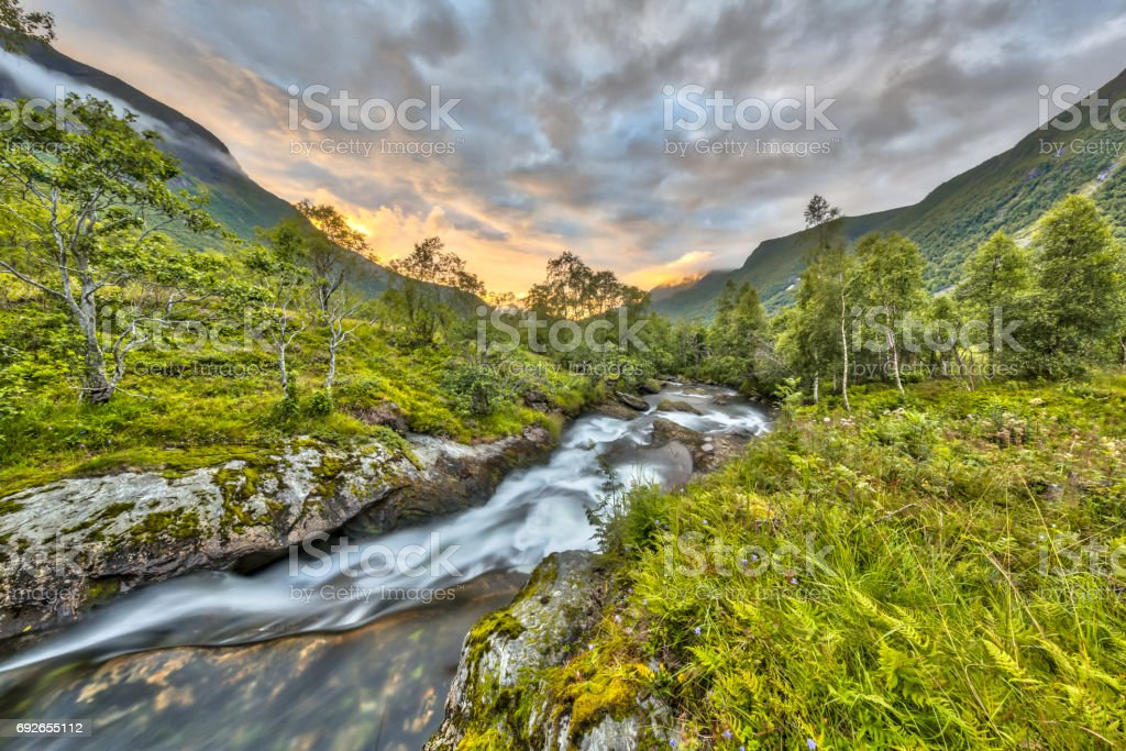 Sunset over wild river through birch forest in Norway stock photo
